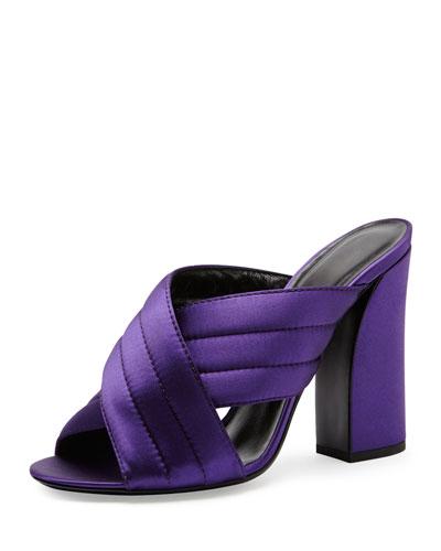 Crisscross Satin Mule Pump, Iris Violet