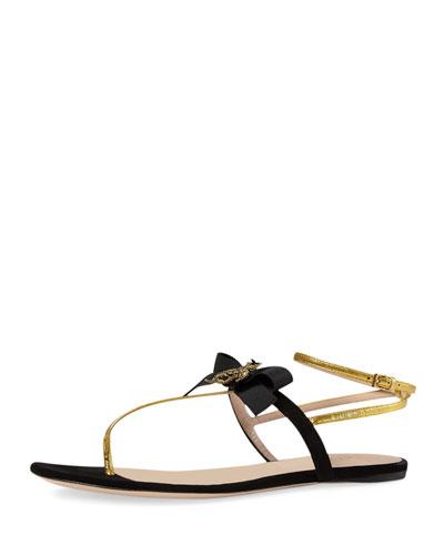 Moody Bow Flat Thong Sandal, Nero/Oro