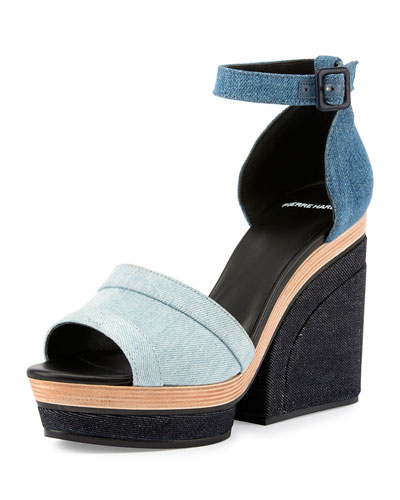 Charlotte Denim Wedge Sandal