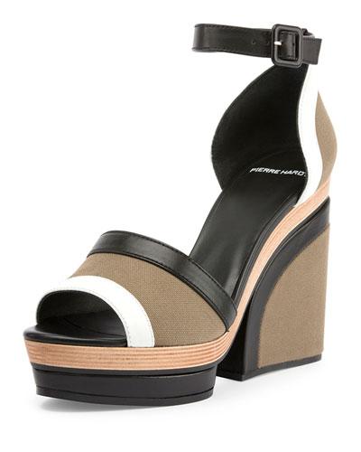 Charlotte Canvas Wedge Sandal, Multi/Khaki
