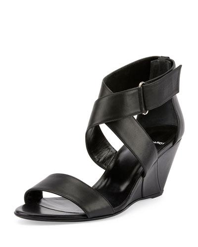 Crisscross Leather Wedge Sandal, Black