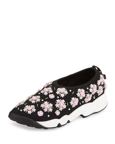 Crystal-Embellished Mesh Slip-On Trainer, Black/Pink