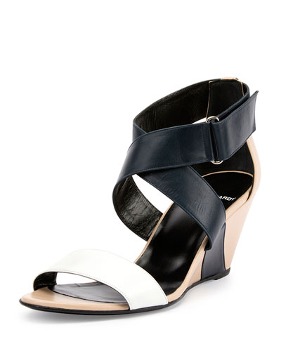 Crisscross Colorblock Leather Wedge Sandal, Multi