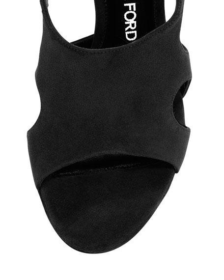 Suede Cutout Gladiator Sandal, Black