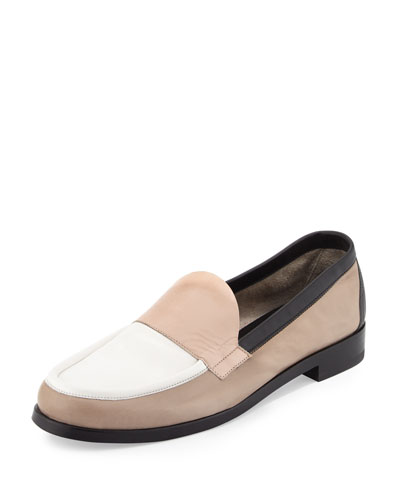 Hardy Colorblock Leather Loafer, Multi/Taupe