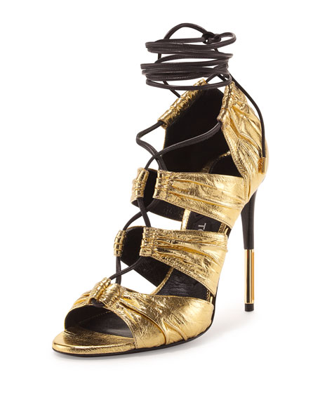 Metallic Laminated Eel Lace-Up Sandal, Gold