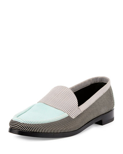 Hardy Striped Suede Loafer, Turquoise