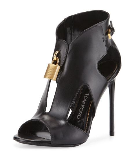 Padlock Leather Cutout Stiletto Bootie, Black