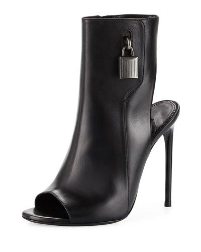 Padlock Peep-Toe Ankle Boot, Black