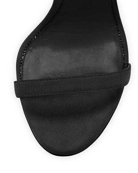 Leather Padlock Ankle-Wrap Sandal, Black