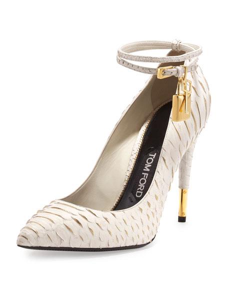 Python Ankle-Wrap Padlock Pump, Chalk/Golden