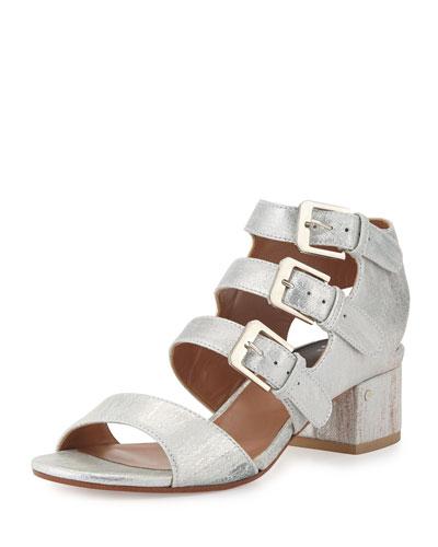 Klio Nubuck Three-Buckle Sandal, Silver