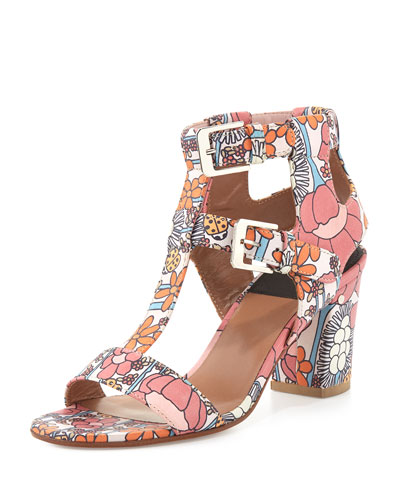 Diane Floral-Print Leather Sandal, Light Pink