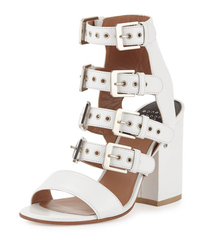 Kloe Leather Buckle Cage Sandal, White