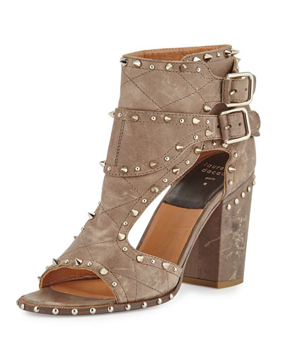 Deric Studded Leather Block-Heel Sandal, Gray/Silvertone