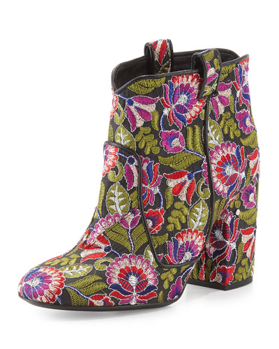 Pete Floral-Embroidered Ankle Boot, Black