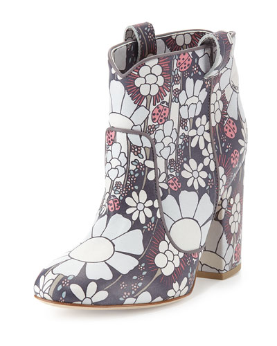 Pete Floral-Print Leather Ankle Boot, Black
