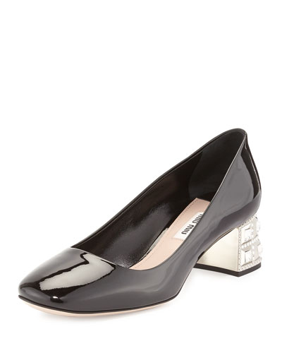 Patent Jewel-Heel 45mm Pump, Black (Nero)