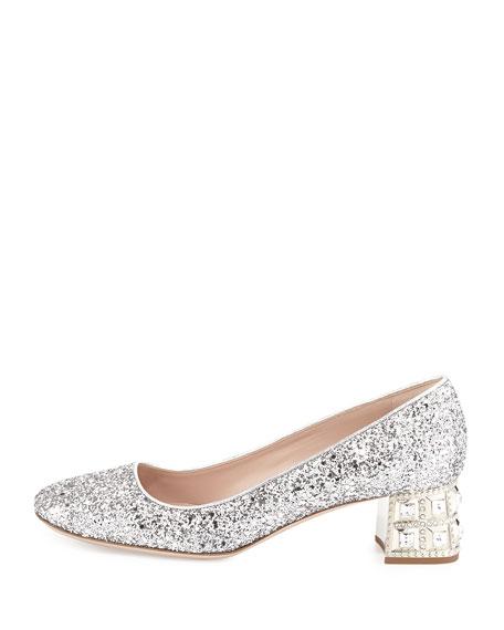 Decollete Glitter Jewel-Heel Pump, Argento