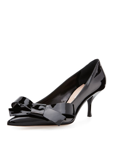 Patent Leather Bow Pump, Black