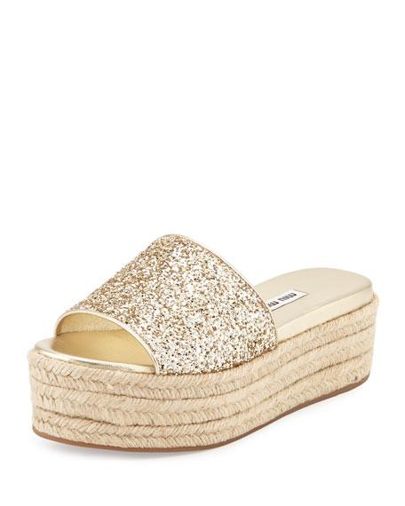 Platform Sandal Espadrille Slide Glitter Pirite WDE9HI2