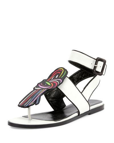 Scoubi Pop Flat Leather Sandal, White