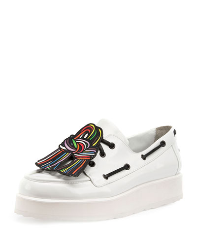 Scoubi Pop Leather Loafer, White