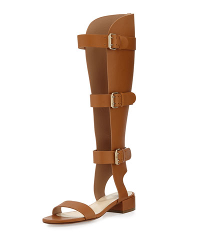 Three-Strap Leather Gladiator Sandal