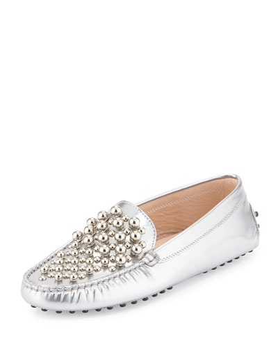 Beaded Metallic Leather Gommini Loafer, Silver