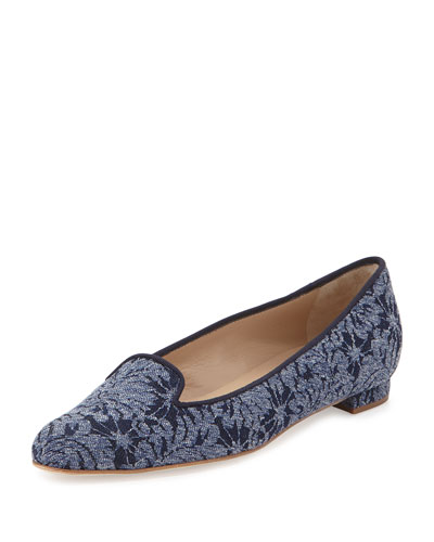 Shari Floral Denim Loafer, Blue