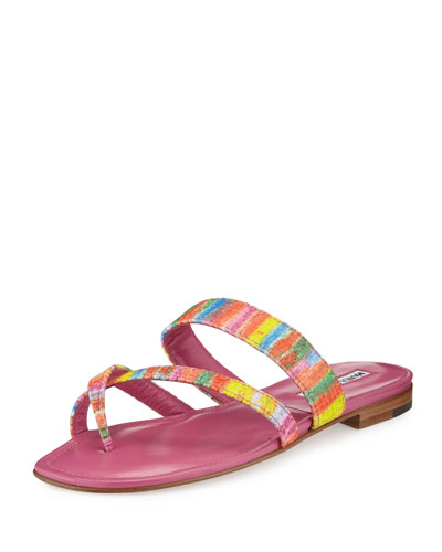 Susa Rainbow Fabric Flat Sandal