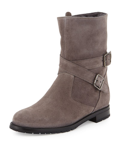 Campocross Belted Mid-Calf Boot with Shearling, Gray
