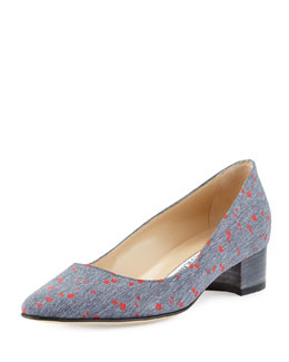 Listony Flower-Print 30mm Pump, Denim