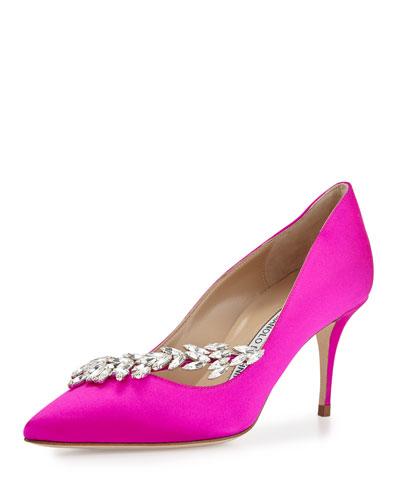 Nadira Jeweled Satin Pump, Hot Pink