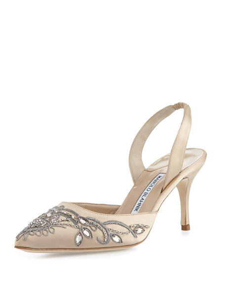 Manolo Blahnik Mectar Jeweled Satin Slingback Pump, Champagn