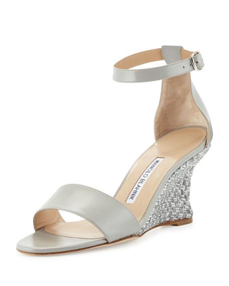 f127062d2df1a Manolo Blahnik Lauratowe Ankle-Wrap Wedge Sandal,