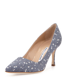 BB Flower-Stamped Denim 70mm Pump