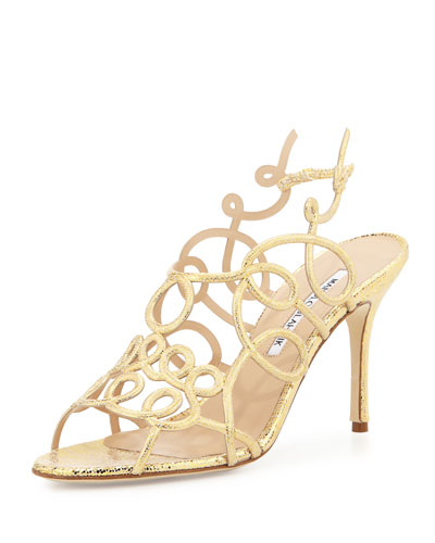 Gori Metallic Swirly Suede Sandal, Gold