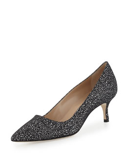 BB Metallic Jacquard 50mm Pump, Black/Silver