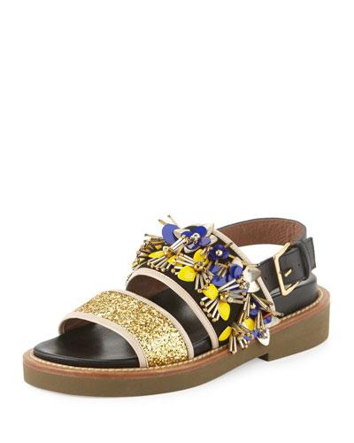 Embellished Two-Band Sandal, Gold Sand/Coal