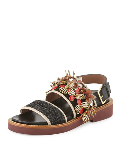 Embellished Two-Band Sandal, Coal/Flamingo