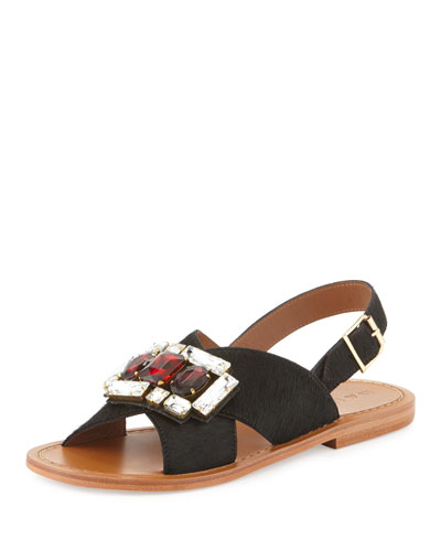 Jeweled Calf-Hair Crisscross Flat Sandal, Black