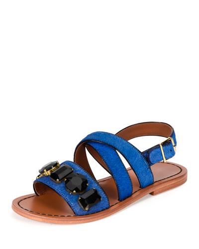 a6cd36684424 Marni Jeweled Calf-Hair Flat Slingback Sandal