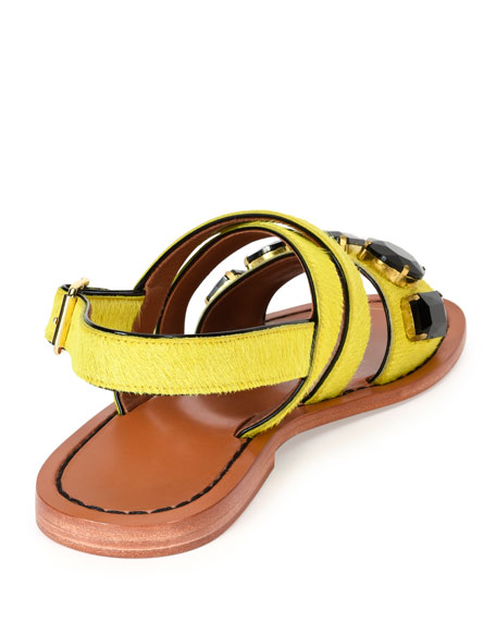 Jeweled Calf-Hair Flat Slingback Sandal, Pineapple