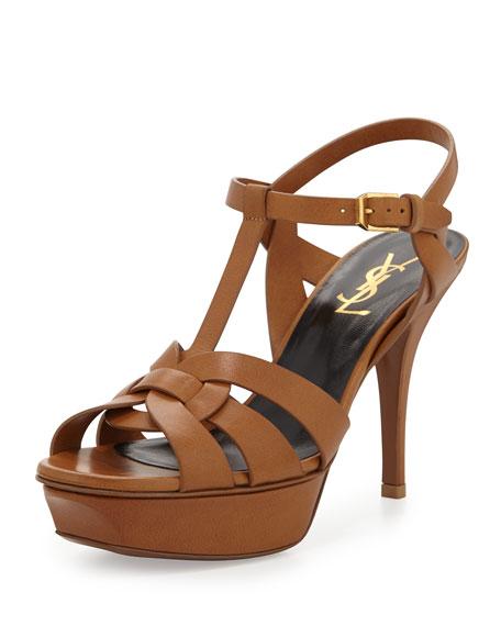 86a11b09bfc Saint Laurent Tribute Leather Mid-Heel Sandal, Bronze