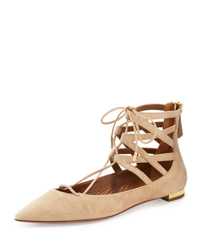 Belgravia Suede Lace-Up Flat, Nude