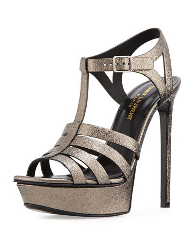 Tribute Metallic Leather Platform Sandal, Medium Gray
