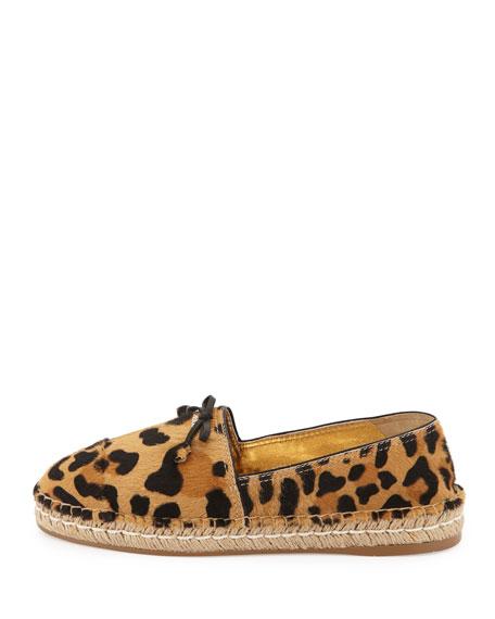 Calf Hair Bow Espadrille Flat, Leopard