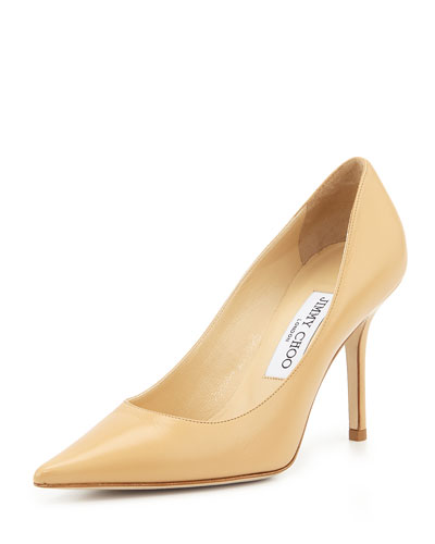 Agnes Leather 90mm Pump, Beige