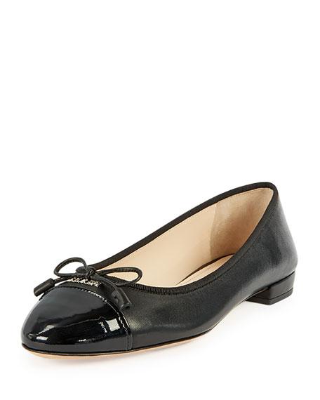 Patent Cap-Toe Ballerina Flat, Black